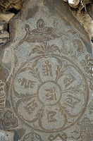 Religious symbol on stone, Diskit Monastery, Nubra Valley, Ladakh, Jammu and Kashmir, India