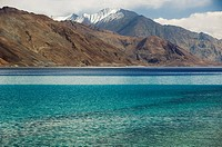 Lake with mountain ranges in the background, Pangong Tso Lake, Ladakh, Jammu and Kashmir, India