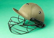 Close_up of a cricket helmet