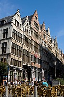 Belgium _ Flanders _ Antwerp _ Buildings of the street Gildekamersstraat Guildhouse Street