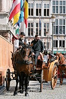 Belgium _ Flanders _ Antwerp _ Grote Markt, Grand Place and the Stadhuis City Hall _ Fiacre _ Cab
