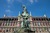 Belgium _ Flanders _ Antwerp _ Grote Markt, Grand Place _ The Stadhuis City Hall the Brabo Fountain and the statue of Silvius Brabo