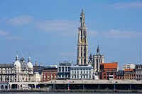 Belgium _ Flanders _ Antwerp seen from the Scheldt _ The Cathedral of Our Lady _ Onze_Lieve_Vrouwekathedraal