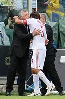 paolo maldini hugs carlo ancelotti, firenze 2009, serie a football championship 2008_2009, fiorentina_milan