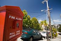 Fire alarm on a San Francisco street, California, USA