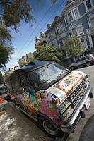 Old hippy van parked on a San Francisco street