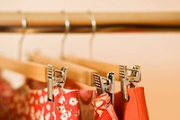 Close_up of skirts hanging on clothes rack