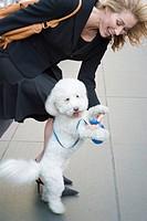 Woman playing with dog on sidewalk