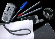 Dictaphone, mobile phone, and other office supplies