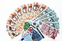 Currencies from the European Union and the Czech Republic