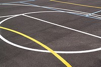 Close_up of an empty outdoor basketball court