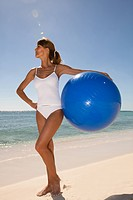 Woman beach ball
