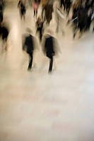 Blurred view of people walking