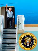 President George W  Bush waves as he exits Air Force One Sept  1 at Lackland Air Force Base, Texas  The president visited San Antonio to personally th...