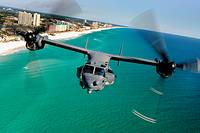 A CV-22 Osprey aircraft from the 8th Special Operations Squadron at Hurlburt Field, Fla , flies Jan  31 over Florida's Emerald Coast  While over the w...