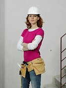 A female construction worker, portrait