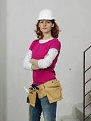 A female construction worker, portrait