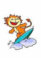 A lion surfing