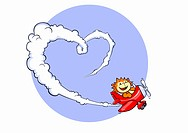 A lion flying an airplane and making heart with a vapor trail