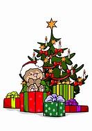 A bear with a Christmas tree and Christmas presents