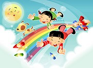 Children flying in sky, rainbow and sun in background