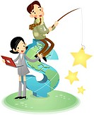 Boy holding fishing rod, girl holding laptop