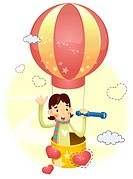 Boy sitting in hot air balloon