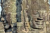 Riesige steingemeisselte Gesichter des Bodhisattva Lokeshvara auch Avalokiteshvara, Bayon_Tempel, Angkor Thom, Welterbe der UNESCO, Siem Reap, Kambods...