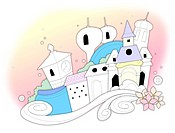 Castles by floral pattern