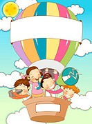 Children traveling in hot air balloon