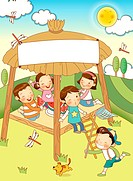 Children enjoying picnic at TreeHouse