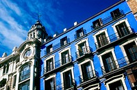 A blue building on the Gran Via in Madrid