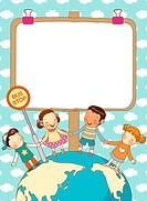 Children With whiteboard Around Earth