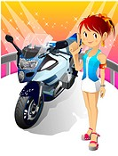 Girl standing by Motorcycle