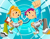 Children playing video game with the help of joystick