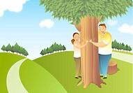 Boy and girl hugging tree
