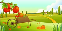 Close_up of handcart with pumpkins