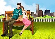 Portrait of couple sitting on bench in park