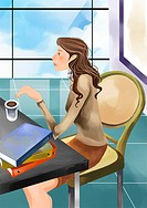 Side view of businesswoman Sitting in a Cafe With a Cup of Coffee