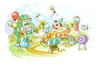 Various toys on landscape