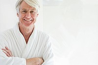 Portrait of middle aged man wearing bathrobe