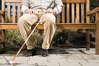 Blind man sitting on a bench (thumbnail)