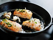 Salmon in a frypan Sweden.