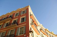 Typical facade in the old part of Nice, France, Europe