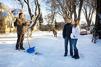 Couple and man with shovel