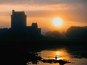 Dunguaire Castle, Kinvara, Co Galway, Ireland, Silhouette of a 16th Century castle at sunset