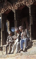 Katmandu,Nepal,Men reading newspaper