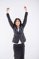 Woman with her arms raised