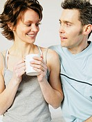 Couple enjoy morning company