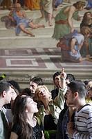 Tourists visiting Stanza della Segnatura, Stanze di Raffaello, Vatican Museums, Vatican City, Rome, Italy
